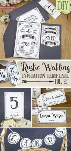 Rustic Wedding Invitations Template, inexpensive wedding invitations DIY Wedding Invitations- Press Print Party! #weddings Elegant, simple, vintage, cheap, boho wedding invitation, printable, country wedding, black and white, classic, romantic, lace, callligraphy, formal, creative. Discount Wedding Invitations, Inexpensive Wedding Invitations, Diy Wedding Invitations Templates, Country Wedding Invitations, Elegant Invitations, Wedding Invitation Templates, Wedding Stationery, Decoration, Wedding Black