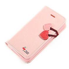 Cereja coração Virar Carteira Couro PU Stand Case Cover for iPhone4/4S – BRL R$ 28,73