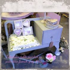 Telephone table painted with autentico french grey