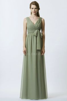 V Neck Chiffon Empire A line With Ruching V Back Bridesmaids Gown
