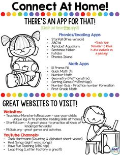 Connect At Home - editable flyer to share apps and websites with parents. Great form to pass out at conferences to inform parents about the apps and websites you use at school. Use this editable template to communicate with families! Learning Websites For Kids, Educational Websites, Home Learning, Preschool Learning, Kindergarten Classroom, Learning Activities, Educational Leadership, Educational Activities, Kindergarten Websites