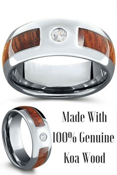 Mens tungsten wood diamond CZ wedding ring. This wood diamond wedding ring is made with 100% real koa wood. It is 100% waterproof and extremely durable.