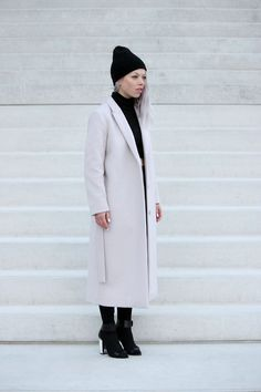 So minimal, clean and almost ankle length! - powder pink coat, COS
