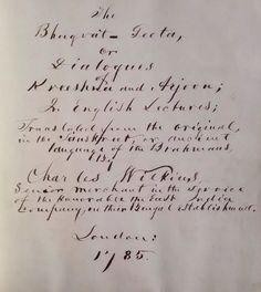 1860 Handwritten Bhagvat Geeta Presented By Gen Hitchcock Mattie Hulett Krekel