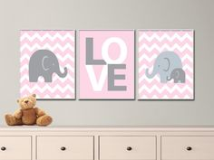 "Printable Elephant Nursery Art Print, Baby Girl Nursery Art Suits Pink and Gray Nursery Décor Art,3  JPEG Files in an 8x10"" - P100,104,105"