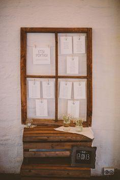 Seating info displayed inside old window frames // Istumajärjestys esillä vanhan ikkunaruudun sisällä Antique Windows, Vintage Windows, Old Windows, Old Shutters, Repurposed Shutters, Diy Wedding, Dream Wedding, Wedding Dreams, Old Window Frames