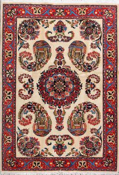 "Sarough Persian Rug- Handmade Sarough Persian Rug 4' 8"" x 6' 10"", Authentic Persian"