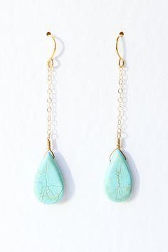 Turquoise earrings, teardrop, gold jewelry, robins egg. $26.00, via Etsy.