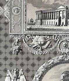 Les Vues de Paris Wallpaper Charcoal and cream scenes of Paris wallpaper