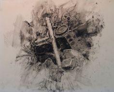 Michael Kareken, Scrap Engines conte on drafting film Face Sketch, Smart Art, A Level Art, Beautiful Drawings, Contemporary Artists, Painting & Drawing, Engineering, Scrap, Sketches