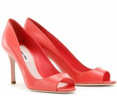 Miu Miu LEATHER PEEP-TOE PUMPS