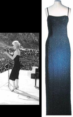 Ceil Chapman black silk crepe dress with black bugle beads worn by Marilyn in Korea, 1954.