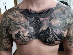 Freehand Biomech Bioorganic Skull Tattoo On Clients Chest Wolf Tattoos, Feather Tattoos, Skull Tattoos, Animal Tattoos, Body Art Tattoos, Girl Tattoos, Tattoos For Guys, Sleeve Tattoos, Norse Tattoo