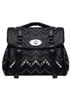 Aztec Studded Satchel Bag in Black