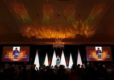 """Here's a """"Wayback Wednesday""""... the Meeting Professionals International I Georgia Chapter - MPI Georgia 2017 Phoenix Awards! Active's Special Event Division worked closely with our Creative Services Division to provide moving phoenix projections and flame effects. #GAMPI #ActiveProduction #AV #Projection #AudioVideo #AudioVisual #SpecialEvents"""