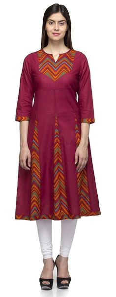 Laabha Womens Cotton Maroon With Printed Pannel Kurti