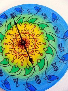Sunflower Mandala Clock - Hand Painted Geometric Home Decor on Recycled Vinyl Record
