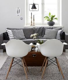 Lovely Living room with fantastic white chairs and a comfy grey designs interior design house design room design home design Living Room Grey, Home Living Room, Apartment Living, Living Room Decor, Cozy Apartment, Living Area, Apartment Interior, Decoration Inspiration, Interior Design Inspiration