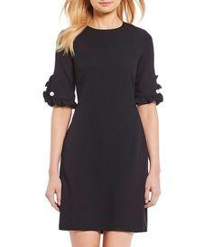 71a9d9bdff5 KARL LAGERFELD PARIS Ruffle Pearl Trim Sleeve Crepe Shift Dress