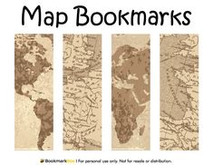 Free printable map bookmarks. Download the PDF template at http://bookmarkbee.com/bookmark/map/