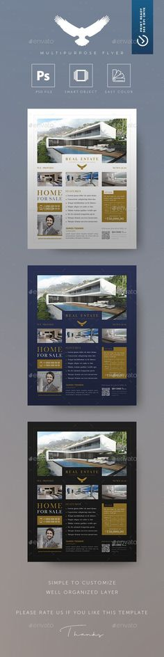 Real Estate Flyer Template 5 Photos Single Sided Pages