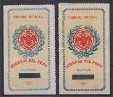 Perú 1904 Sellos Oficiales Sc Unlisted Drummond Os3 Dos Sellos Tonos Perfecto F, Vf