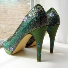 Wedding Shoes Forest green lace peacock vintage feel by norakaren, $250.00