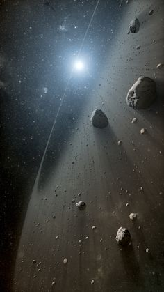 Early in our solar systems creation, the asteroid belt would have been a treacherous space to cross. Only Jupiter's influence, as well as the inner planets, helped to clear the field of smaller debris.