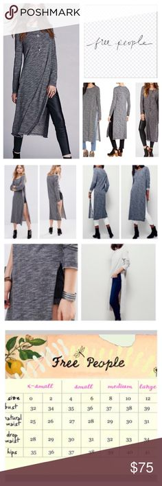 "Free People Charcoal To The Max Long Tunic.  NWT. Free People Charcoal To The Max Long Tunic, 100% cotton, machine washable, 21"" armpit to armpit (42"" all around), 19"" arm inseam, 46"" length, 26"" side slits, super soft maxi top in an oversized shapeless silhouette featuring allover heathered fabrication, raw edges at neckline, sleeves and hem, round neckline, exaggerated side vents, measurements are approx.  NO TRADES Free People Tops"