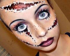 Poupée maléfique Diy Halloween Face Paint, Amazing Halloween Makeup, Looks Halloween, Halloween Face Makeup, Scary Halloween, Halloween Costumes, Halloween Decorations, Awesome Makeup, Halloween Party