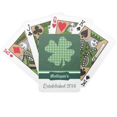 Green Checks Shamrock Personalized Deck Of Cards by Westerngirl2