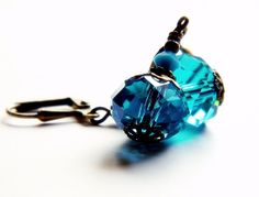 Topaz Blue Earring Teal Aqua Drop Swarovski Crystal by MsBsDesigns, $28.00