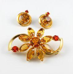 Vintage brooch earrings Set Citrine Hyacinth by RMSjewels on Etsy, $45.00