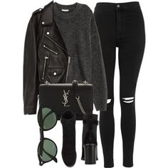 Untitled #6951 by laurenmboot on Polyvore featuring moda, Jakke, Topshop, rag & bone, Yves Saint Laurent and Ray-Ban