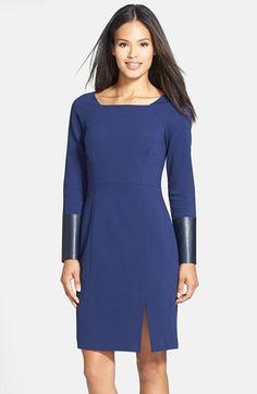 Lafayette 148 New York Punto Milano Square Neck Sheath Dress (Regular & Petite) | Nordstrom