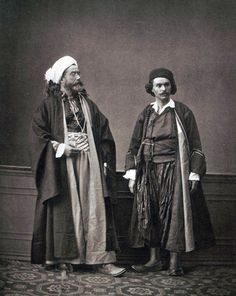 Ottoman Costumes 1873. Left, hodja and right Christian priest from Shkodra, Albania