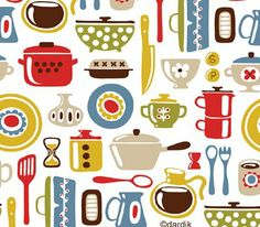 illustration by helen dardik how stinking cute! Textile Patterns, Cool Patterns, Print Patterns, Retro Fabric, Vintage Fabrics, Fabric Design, Pattern Design, Retro Pattern, Kitchen Wallpaper