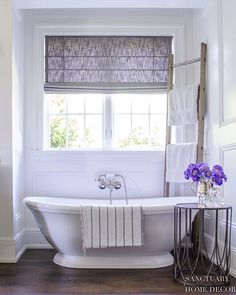 Take a virtual tour of a stunning elegant farmhouse in Southern California. Ideas for kitchen, bathroom, dining room, living room and more. Sanctuary Home Decor Modern Farmhouse Bathroom, Country Farmhouse Decor, Modern Country, Country Style, French Country, Bathtub Makeover, Bathtub Remodel, Modern Baths, Colors
