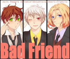 The Bad Touch Trio can also be called the Bad Friends Trio. And personally, I prefer it that way. Art by 零(リク企画終了) on Pixiv Bad Touch Trio, Bad Friends, Usuk, Hot Anime Guys, Axis Powers, Image Boards, Some Pictures, Me Me Me Anime, Hetalia