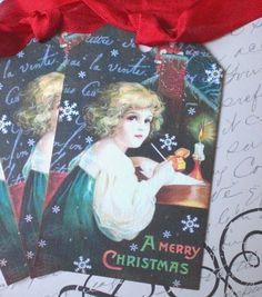 Vintage Christmas Tags - Santa Tags - Letter to Santa Gift Tags - Set of 3