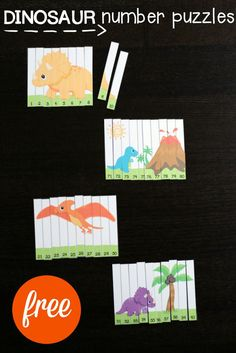 FREE Dinosaur Number Puzzles for the numbers 1-120. Such a fun way to practice counting, number recognition... so many things! Perfect for a dinosaur unit.