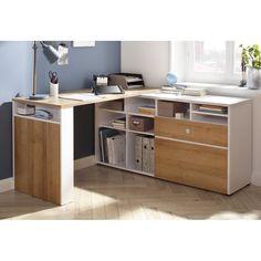 McConnell L-Shape Writing Desk 17 Stories Desk Storage, Storage Spaces, Adjustable Shelving, Open Shelving, L Shaped Corner Desk, Teen Desk, Corner Writing Desk, Small Drawers, Home Office Design