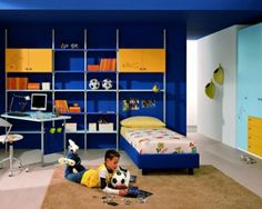 10 Year Old Boy Bedroom Ideas to Inspire You in Designing Your Kid's Bedroom : Excellent 10 Year Old Boy Blue Bedroom Design Ideas With Bookcase And Computer