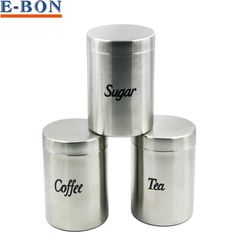 [Visit to Buy] 3pcs/Set Stainless Steel 18/8 Seal Pot Storage Canister Set Coffee Suger Tea Food Storage Container Jar Set #Advertisement