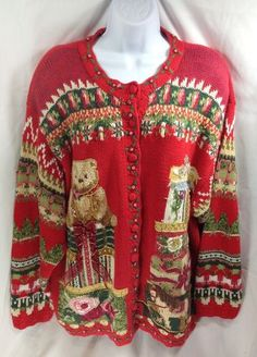 Ugly Christmas Sweater Party Holiday Winter Red Presents Bear 22 24 Plus Tacky $59.99