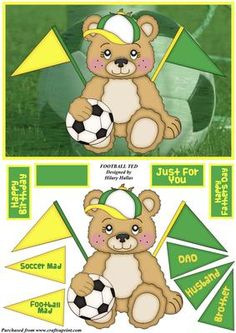 Football Ted on Craftsuprint designed by Hilary Hallas - A quick A5 tentfold card front with extra layers featuring a cute little bear wearing a peaked cap and holding a football on a football background. The bear has two blank flags coming out from behind and there are a selection of flags to layer on top of these to describe the bear, ie Soccer Mad - Dad. There is also a selection of sentiment tags plus a blank for your own message. - Now available for download!