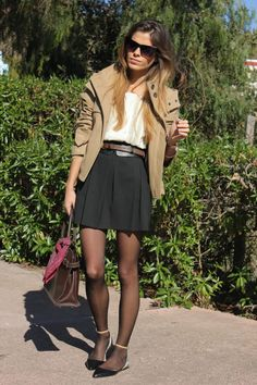 black short skirt poncho sunglasses handbag pantyhose summer outfits womens fashion clothes style apparel clothing closet ideas