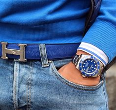This picture literally describes my casual style! Sweater, light wash jeans, Hermès belt, Rolex submariner. Love it!