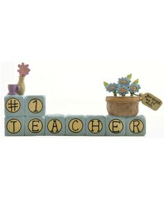 Block '#1 Teacher' with Flowers (Set of 4)
