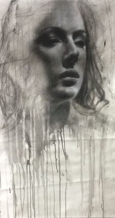 Aerosol and mixed media on canvas Charcoal Sketch, Mixed Media Canvas, Paintings, Artwork, Work Of Art, Paint, Auguste Rodin Artwork, Painting Art, New Media Art